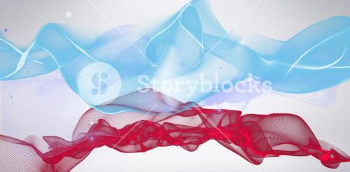 Composite image of blue and red wave digital design