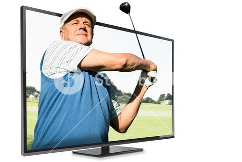 Composite image of view of a man playing golf