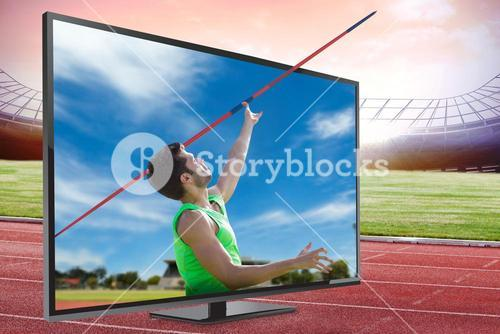 Composite image of athletic man throwing a javelin