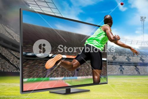 Composite image of rear view of sportsman throwing a shot