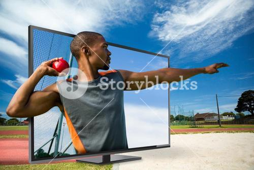 Composite image of profile view of sportsman practising shot put