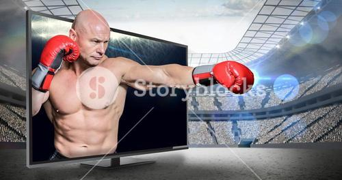 Composite image of bald boxer in fighting stance