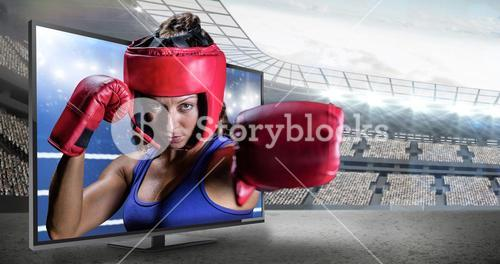 Composite image of portrait of female boxer with gloves and headgear
