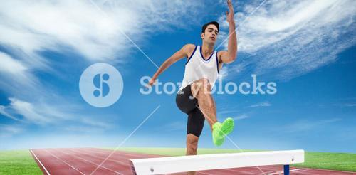 Composite image of male athlete running