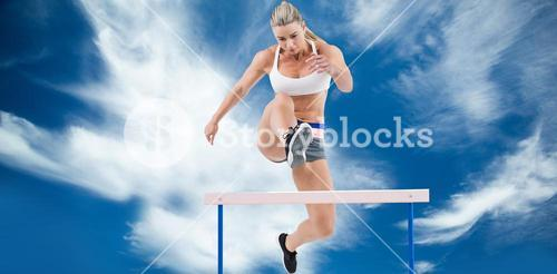 Composite image of female athlete jumping