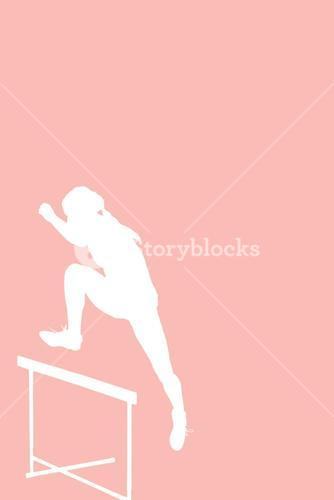Composite image of athlete woman jumping a hurdle