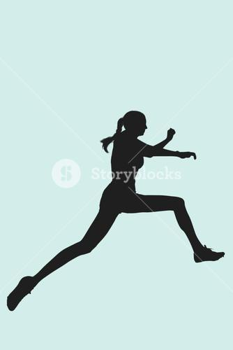 Composite image of profile view of sportswoman jumping