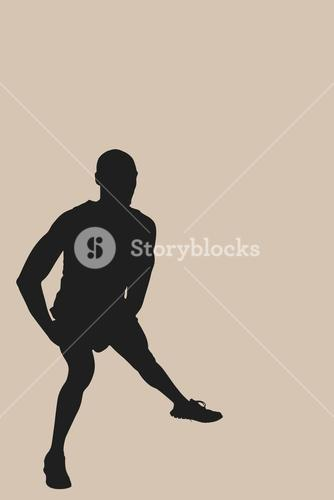 Composite image of front view of sportsman is stretching his muscles