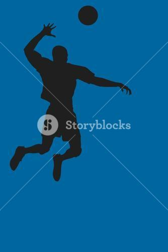 Composite image of rear view of sportsman posing while playing volleyball