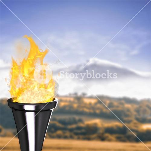 Composite image of the olympic fire