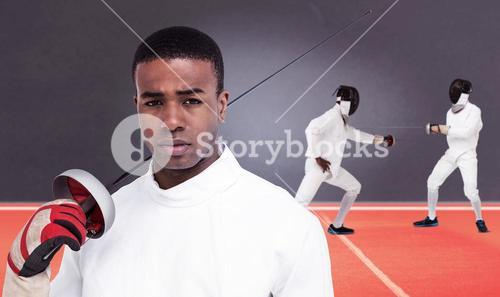 Composite image of portrait of swordsman holding sword