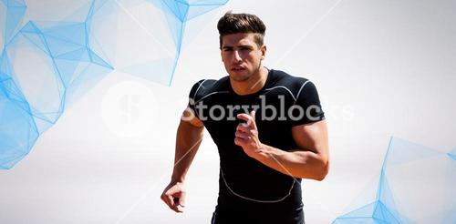 Composite image of athletic man jogging against white background