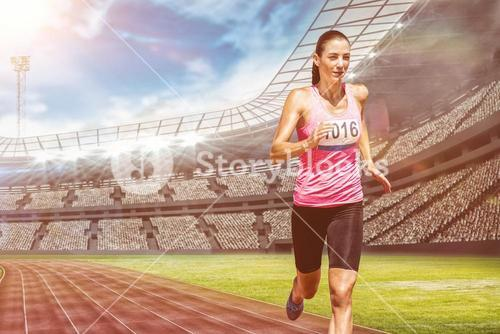 Composite image of athletic woman running against white background