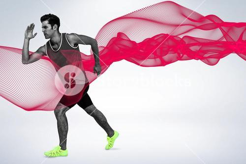 Composite image of athlete man running on white background