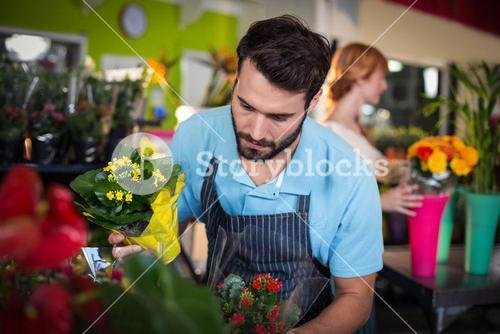 Male florist arranging flower bouquet