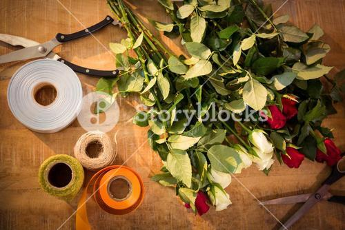 Florist accessories on table