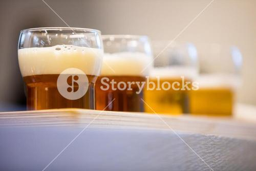 Close-up of beer glasses