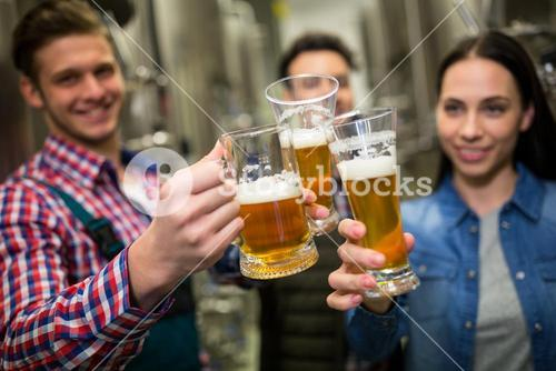 Brewers toasting beers at brewery factory
