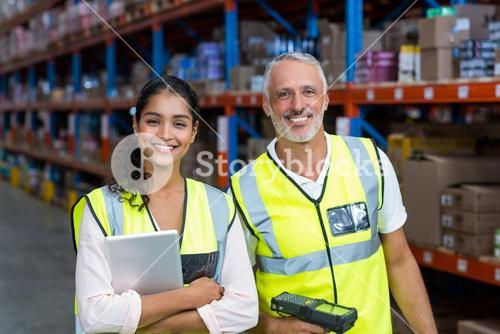 Portrait of happy workers are smiling and looking the camera