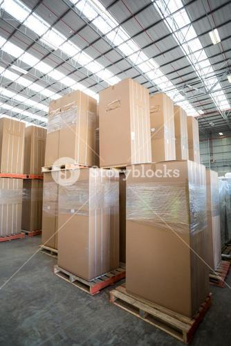 View of cardboard boxes put on pallets