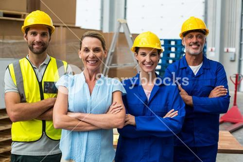 Workers team crossing arms