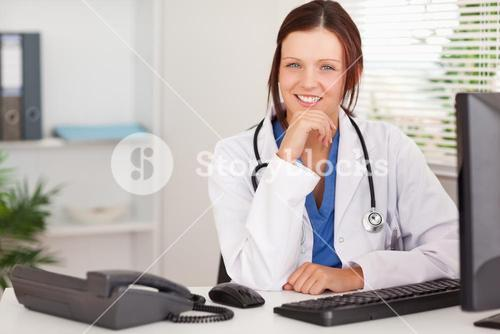 Kind female doctor in office