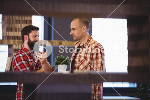 Male colleagues discussing in creative office