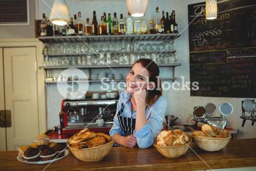 Portrait of happy shop owner at counter in coffee house
