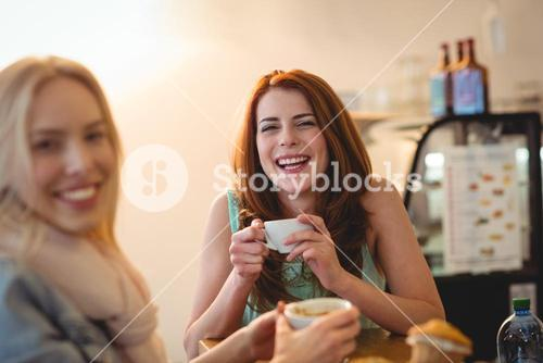 Portrait of cheerful friends at coffee shop