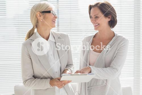 Happy woman and therapist