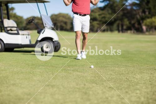 Low section of man by golf buggy