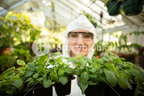 Female scientist holding potted plants