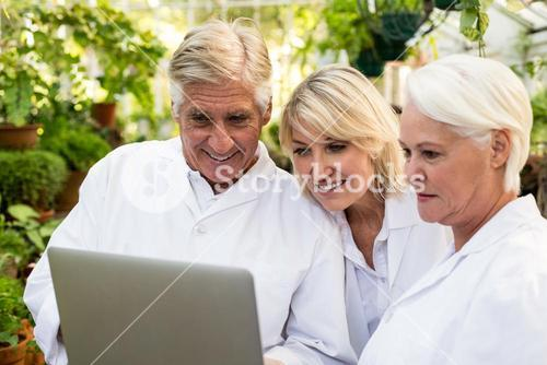 Scientists smiling while discussing over laptop
