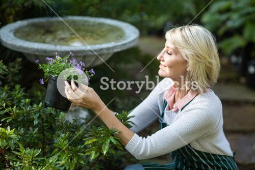 Female gardener holding potted flowers while working