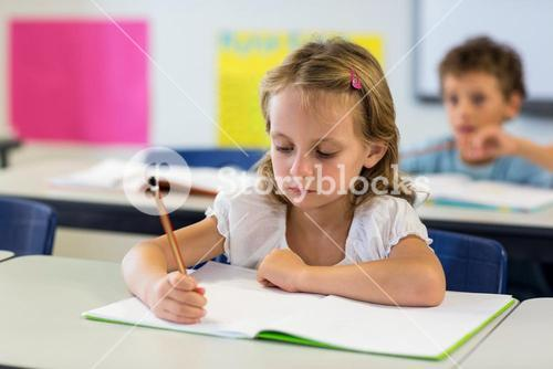 Serious girl writing on book