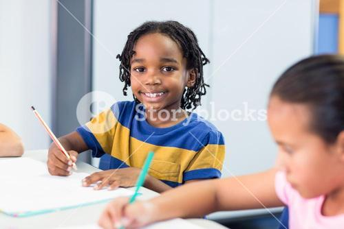 Schoolboy with classmate writing on book
