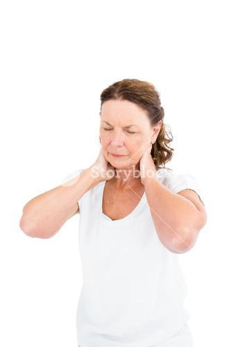 Mature woman suffering from neck pain