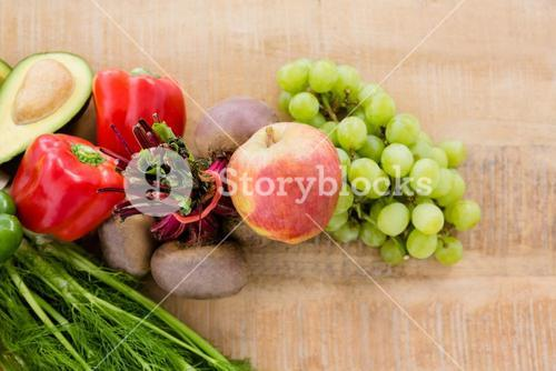 High angle view of various fruits and vegetables