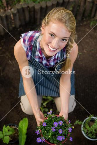 Portrait of beautiful gardener with potted plant at garden