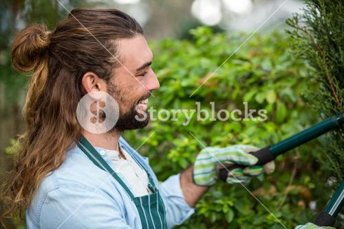 Happy gardener using hedge clippers at communicty garden