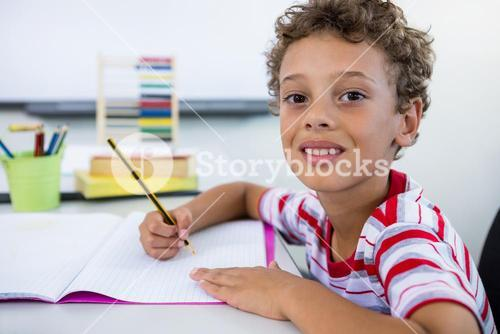 Smiling boy studying at desk in in classroom