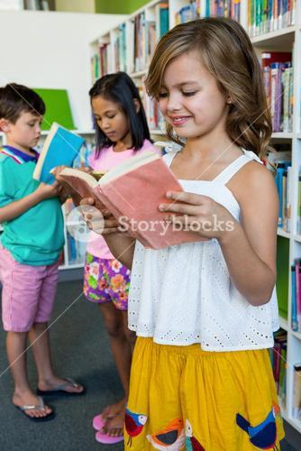 Students reading books in school library