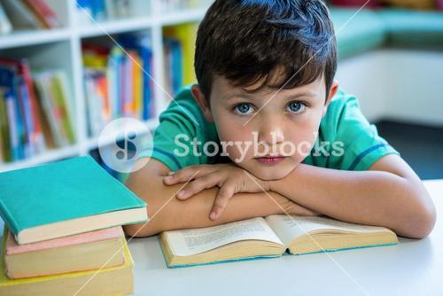 Elementary boy with book in school library