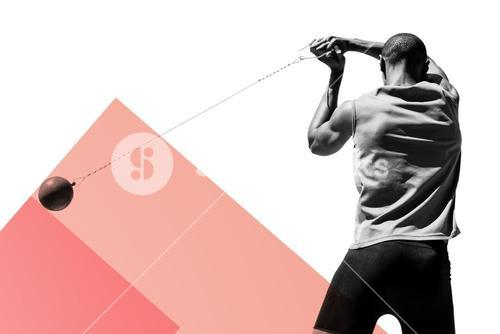 Composite image of rear view of sportsman practising hammer throw