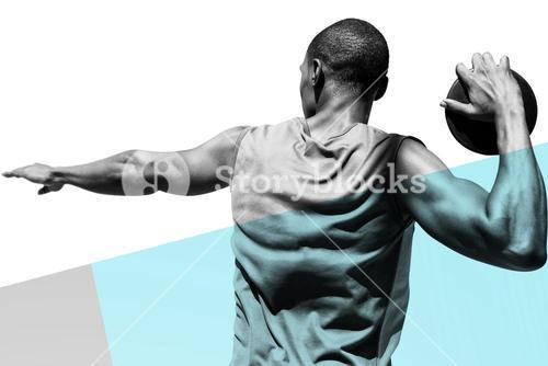 Composite image of rear view of sportsman practising discus throw