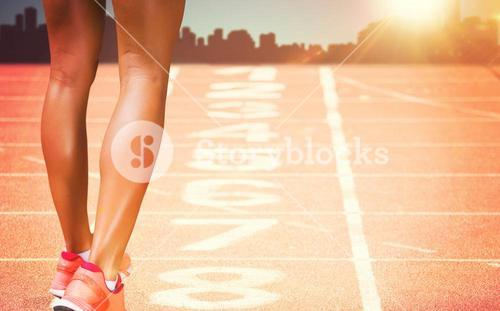 Composite image of close up of sporty legs