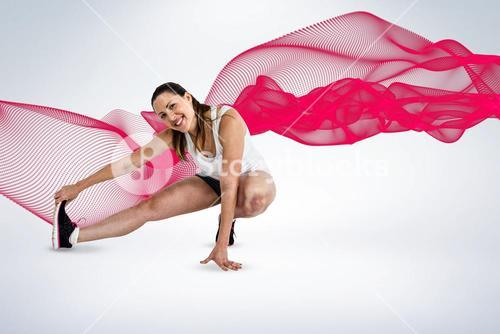 Composite image of happy athlete woman stretching her hamstring