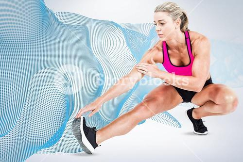 Composite image of female athlete stretching