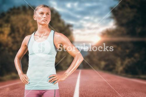 Composite image of sporty woman posing