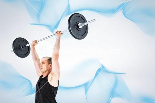 Composite image of bodybuilder lifting heavy barbell weights